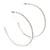 Large Slim Clear Diamante Hoop Earrings In Silver Plating - 6.5cm Diameter - view 2