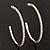 Large Slim Clear Diamante Hoop Earrings In Silver Plating - 6.5cm Diameter - view 4