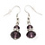 Small Purple Glass Bead Drop Earrings In Silver Plating - 3.5cm Length