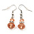 Small Pale Pink Glass Bead Drop Earrings In Silver Plating - 3.5cm Length