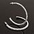 Slim Clear Diamante Hoop Earrings In Silver Plating - 5cm Diameter - view 2