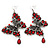Long Burn Silver Red Acrylic Bead 'Butterfly' Drop Earrings - 10cm Length