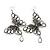 Long Burn Silver White Acrylic Bead 'Butterfly' Drop Earrings - 10cm Length