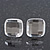 Clear Square Glass Stud Earrings In Silver Plating - 10mm Diameter
