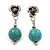 Silver Plated 'Rose' Turquoise Stone Ball Drop Earrings - 3.5cm Length