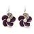 Small Purple Enamel Diamante 'Flower' Drop Earrings In Silver Finish - 2.5cm Length