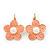 Peach Enamel Faux Pearl 'Daisy' Drop Earrings In Gold Plating - 4cm Diameter