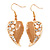 Gold Plated Beige Enamel Crystal & Simulated Pearl 'Leaf' Drop Earrings - 5cm Length