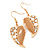 Gold Plated Beige Enamel Crystal & Simulated Pearl 'Leaf' Drop Earrings - 5cm Length - view 3