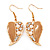 Gold Plated Beige Enamel Crystal & Simulated Pearl 'Leaf' Drop Earrings - 5cm Length - view 5