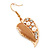 Gold Plated Beige Enamel Crystal & Simulated Pearl 'Leaf' Drop Earrings - 5cm Length - view 6