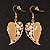 Gold Plated Beige Enamel Crystal & Simulated Pearl 'Leaf' Drop Earrings - 5cm Length - view 2
