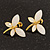 Small Light Cream Acrylic 'Butterfly' Stud Earrings In Gold Finish - 20mm Length