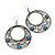 Burn Silver Filigree Hoop Earrings With Light Blue Stone - 6.5cm Drop