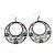 Burn Silver Filigree Hoop Earrings With Light Blue Stone - 6.5cm Drop - view 2