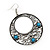 Burn Silver Filigree Hoop Earrings With Light Blue Stone - 6.5cm Drop - view 3
