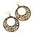 Burn Gold Filigree Hoop Earrings With White Stone - 6.5cm Drop