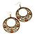 Burn Gold Filigree Hoop Earrings With Coral Stone - 6.5cm Drop