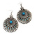 Large Filigree Sky Blue Diamante Chandelier Earrings In Burn Silver Metal - 9.5cm Length/ 6.5cm Diameter - view 4