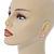 C-Shape Cream/ Pink Enamel 'Floral' Stud Earrings In Gold Tone - 25mm L - view 2