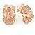 C-Shape Cream/ Pink Enamel 'Floral' Stud Earrings In Gold Tone - 25mm L - view 7