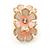 C-Shape Cream/ Pink Enamel 'Floral' Stud Earrings In Gold Tone - 25mm L - view 6