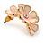 C-Shape Cream/ Pink Enamel 'Floral' Stud Earrings In Gold Tone - 25mm L - view 5