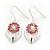 Rhodium Plated Pink Diamante Floral Drop Earrings - 3.5cm Length