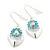 Rhodium Plated Light Blue Diamante Floral Drop Earrings - 3.5cm Length - view 2