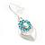 Rhodium Plated Light Blue Diamante Floral Drop Earrings - 3.5cm Length - view 3