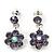 Delicate Lavender Crystal Flower Drop Earrings In Silver Plating - 1.5cm Length