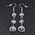 Transparent White Faceted Glass Bead Drop Earring In Silver Plating - 5.5cm Length