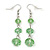 Light Green Faceted Glass Bead Drop Earring In Silver Plating - 5.5cm Length