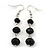 Faceted Black Glass Bead Drop Earring In Silver Plating - 5.5cm Length - view 1