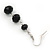 Faceted Black Glass Bead Drop Earring In Silver Plating - 5.5cm Length - view 4