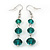 Emerald Green Faceted Glass Bead Drop Earring In Silver Plating - 5.5cm Length