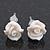 Children's Pretty White Acrylic 'Rose' Stud Earrings With Acrylic Backings - 9mm Diameter