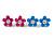 Set of 3 Children's Enamel Daisy Stud Earrings in Blue/ Fuchsia/ Yellow - 12mm D - view 2