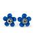 Set of 3 Children's Enamel Daisy Stud Earrings in Blue/ Fuchsia/ Yellow - 12mm D - view 4