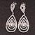 Silver Plated Clear Swarovski Crystal Teardrop Earrings - 7cm Length