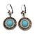 Burn Silver Round Diamante Turquoise Coloured Acrylic Drop Earrings - 5cm Length