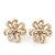 White Enamel Dimensional Floral Stud Earrings In Gold Plated Metal - 2.5cm in diameter
