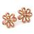 Pale Pink Enamel Dimensional Floral Stud Earrings In Gold Plated Metal - 2.5cm in diameter - view 3