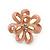 Pale Pink Enamel Dimensional Floral Stud Earrings In Gold Plated Metal - 2.5cm in diameter - view 2