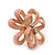 Pale Pink Enamel Dimensional Floral Stud Earrings In Gold Plated Metal - 2.5cm in diameter - view 4