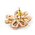 Pale Pink Enamel Dimensional Floral Stud Earrings In Gold Plated Metal - 2.5cm in diameter - view 5