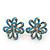 Light Blue Enamel Dimensional Floral Stud Earrings In Gold Plated Metal - 2.5cm in diameter