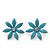 Light Blue Enamel Flower Stud Earrings In Silver Plating - 25mm Diameter