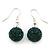 Emerald Green Swarovski Crystal Ball Drop Earrings In Silver Plated Finish - 12mm Diameter/ 3cm