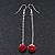 Red/Clear Crystal Ball Chain Drop Earrings In Silver Plating - 10mm Diameter/ 6.5cm Length